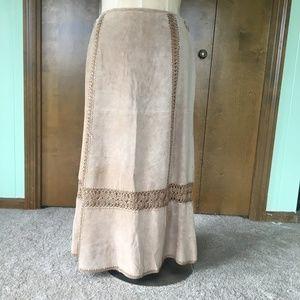 Leather & Crochet Boho Skirt